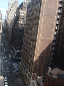 The view outside Black Work Studio in Manhattan on West 39th Street.